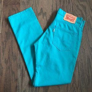 Levi's 511 Slim Fit Teal Blue Cotton Pants